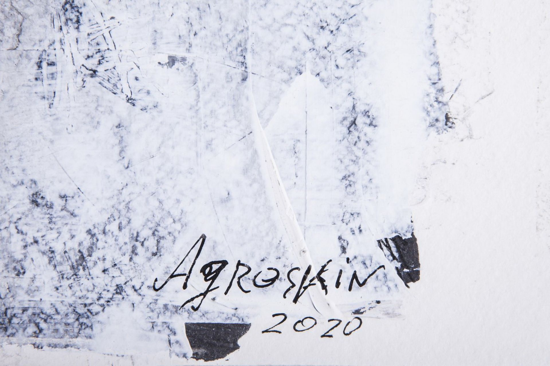 Agroskin, S.E. A scull. 2020. Paper, mixed media. 41x51 cm. <br>Signed. Sales:  Lyon &amp; Turnbull  - Bild 3 aus 3