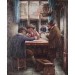 Pechke, W. In the pub. Munich. [XIX century]. Oil on canvas. 61x50,5 cm. <br>Signed and framed.