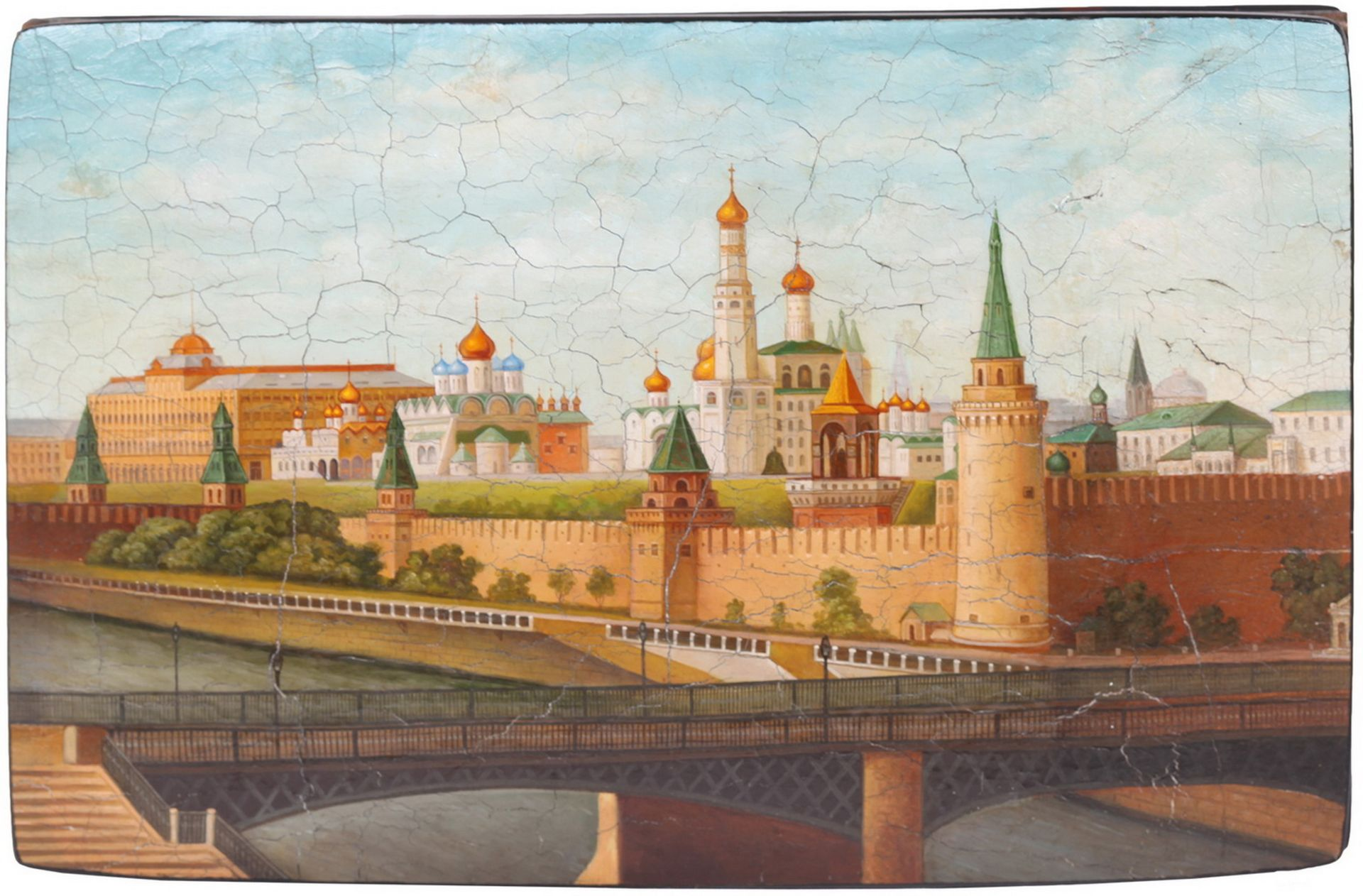 Russian papier mache lacquered box with a view of the Moscow Kremlin. - Vishnyakov, 19th century; 11 - Bild 4 aus 5