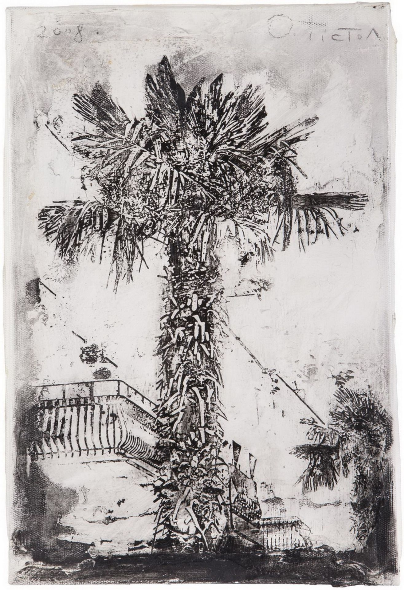 "[Ukrainian]. Tistol, Oleg ""Palm tree"". 2008. Mixed media. 30x20 cm. <br>9th of 10 copies. Signed."