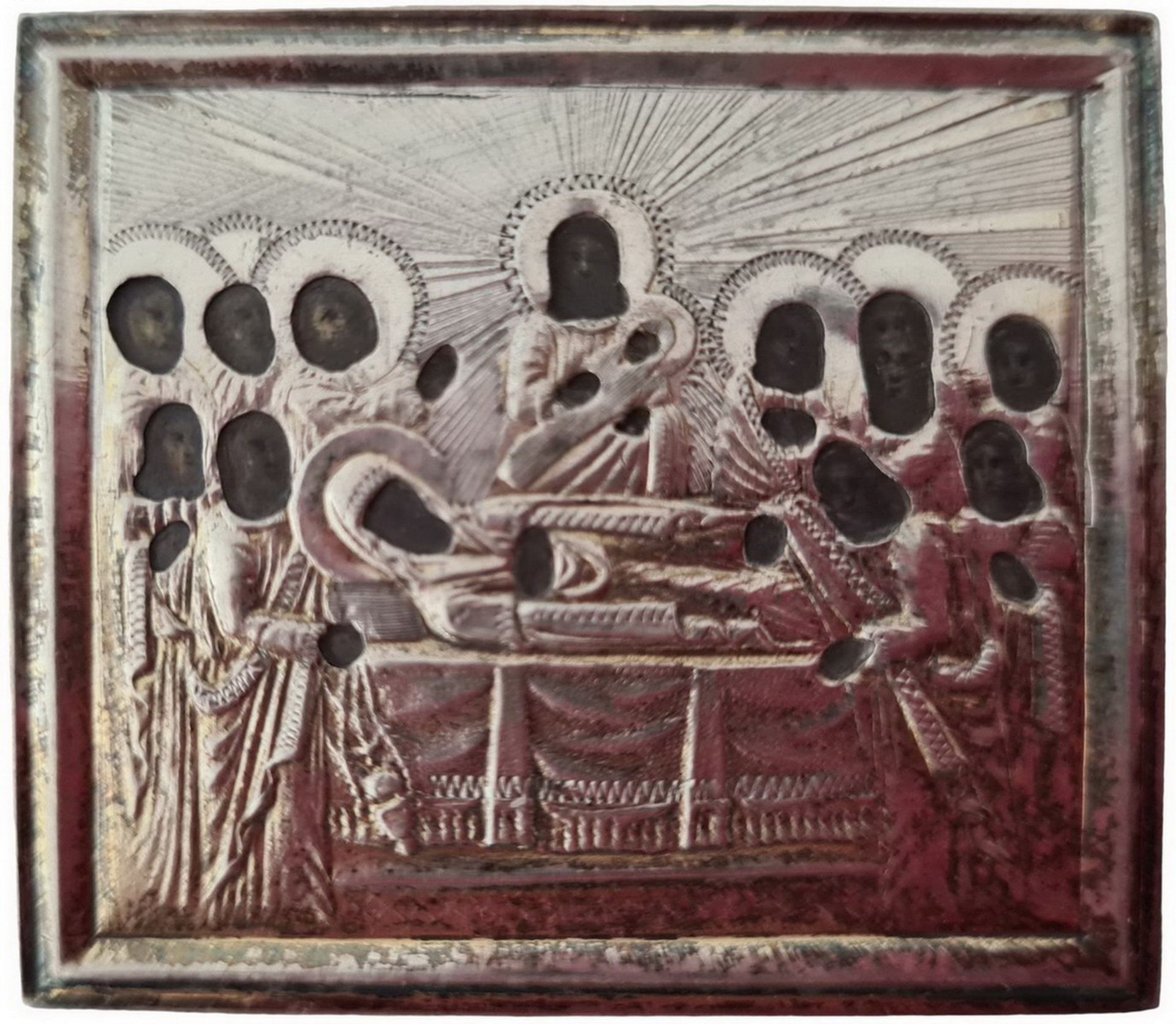 """Russian icon """"Dormition of the Mother of God"""" in silver oklad. - Saint-Petersburg, 19th century; 4x5 - Bild 2 aus 3"""
