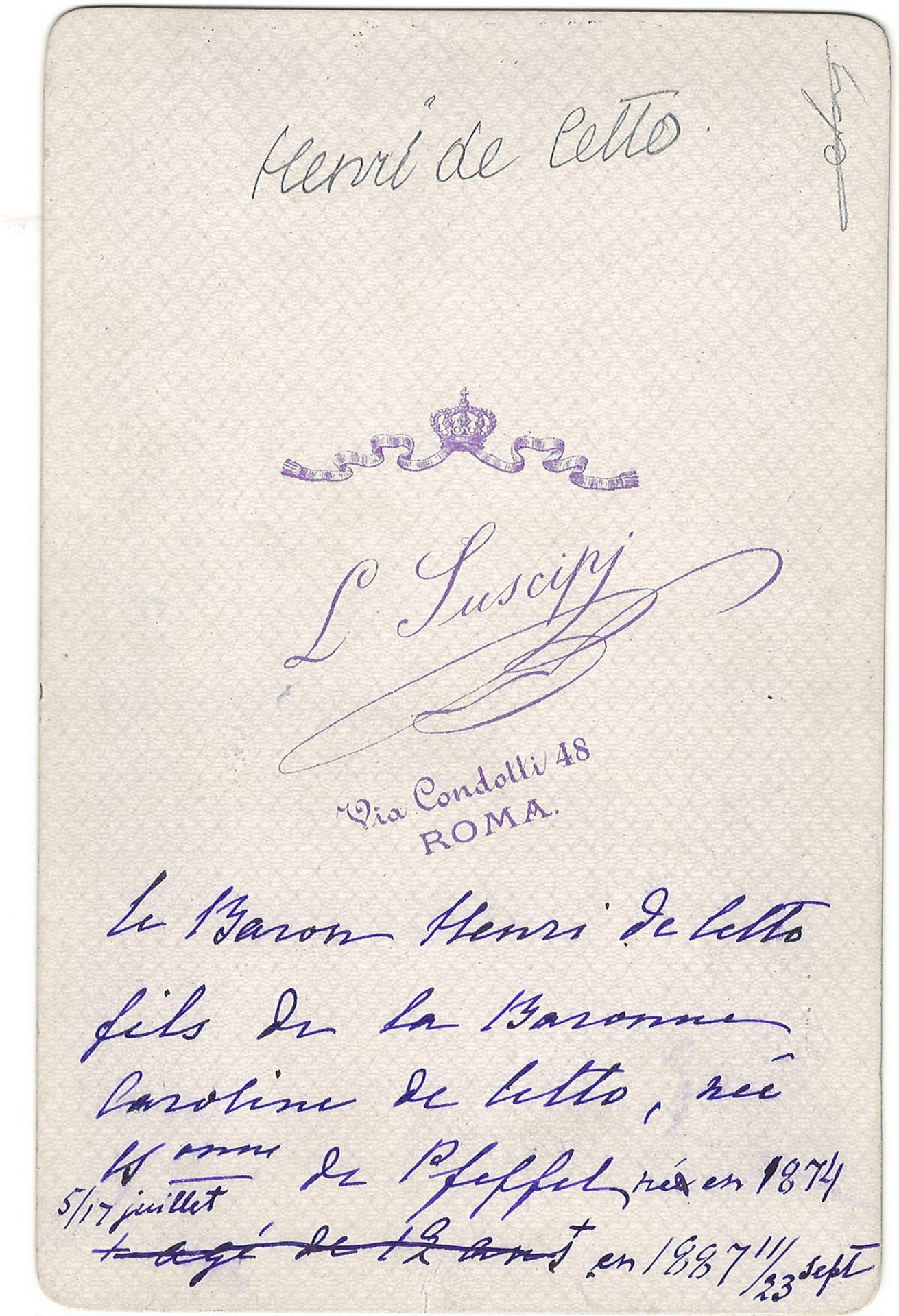 Cabinet portrait of baron Henry de Cetto. Photograph. Author's print. [1880]. 16,5x10,8 cm.<br>Album - Bild 2 aus 2