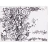"Izmaylov, E.A. Autolithography ""Crowd"". 1990s. 34x45 cm. Print 17x35 cm.<br>Signed. Sales: Sotheby's"