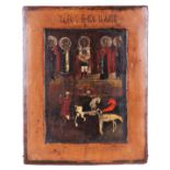 "Russian icon ""Saints Florus and Laurus"".<br>Russia, 19th century. Wood, tempera, levkas. 22,2x18,8 c"