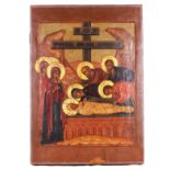 """[Large]. Russian icon """"The Deposition"""".Wood, tempera, levkas, gilding. Cut-back centre"""