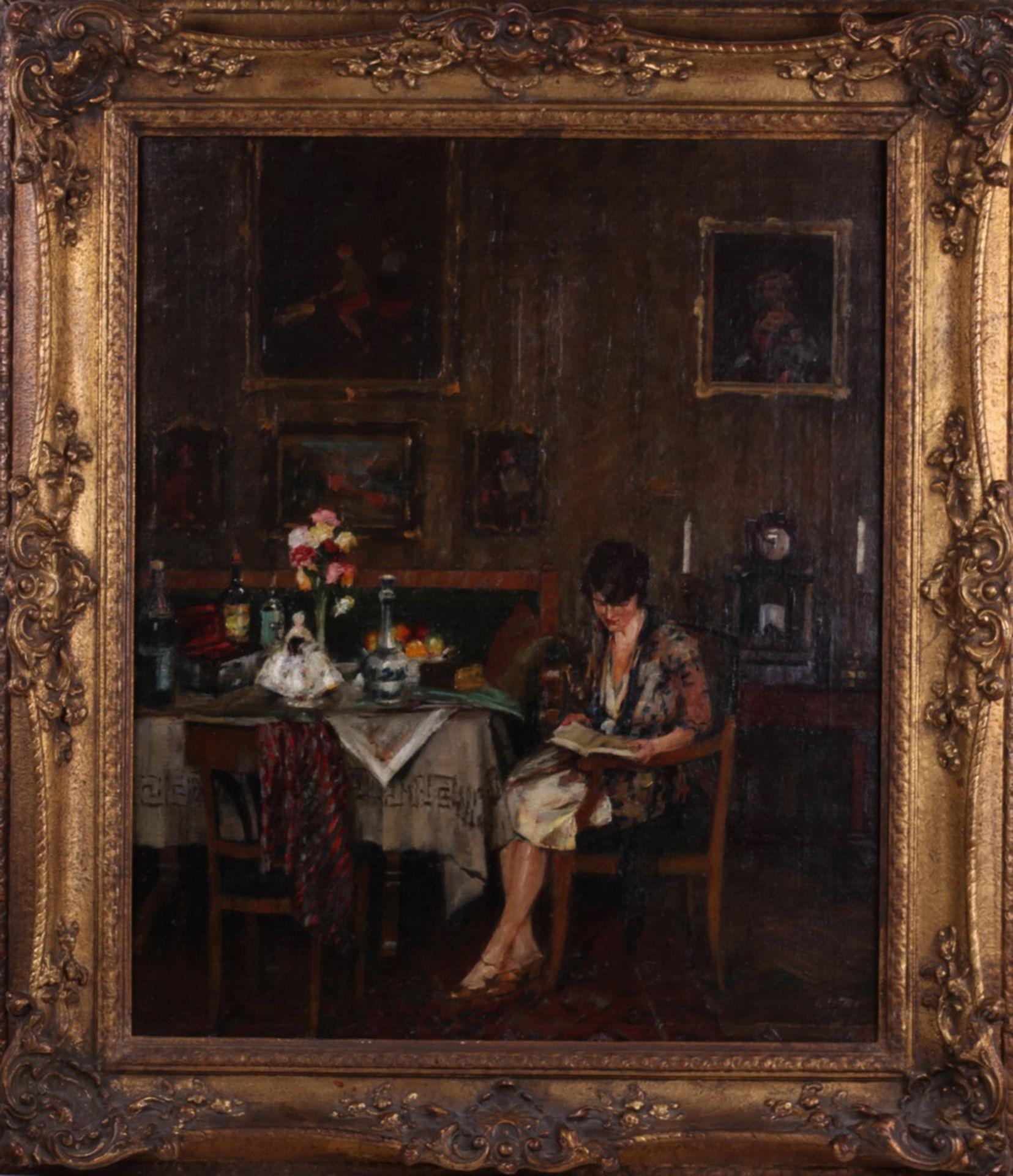 Charles Vetter (1858-1936). Genre scene in the living room. 1930. <br>Oil on canvas. 61x51 cm. Frame - Bild 3 aus 3