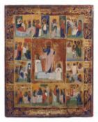 """Russian icon """"Resurrection of Christ"""" and Twelve major liturgical feast. - 19th century. - 22x18 cm."""