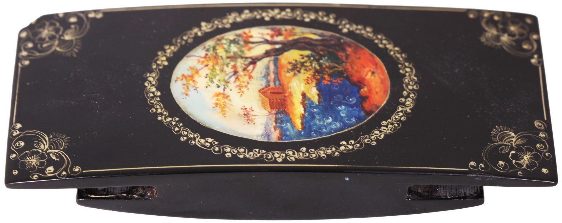 Russian black lacquered papier mache inkstand. - Mstyora, 20th century.<br>Hand painted. Inkstand: 8 - Bild 6 aus 7