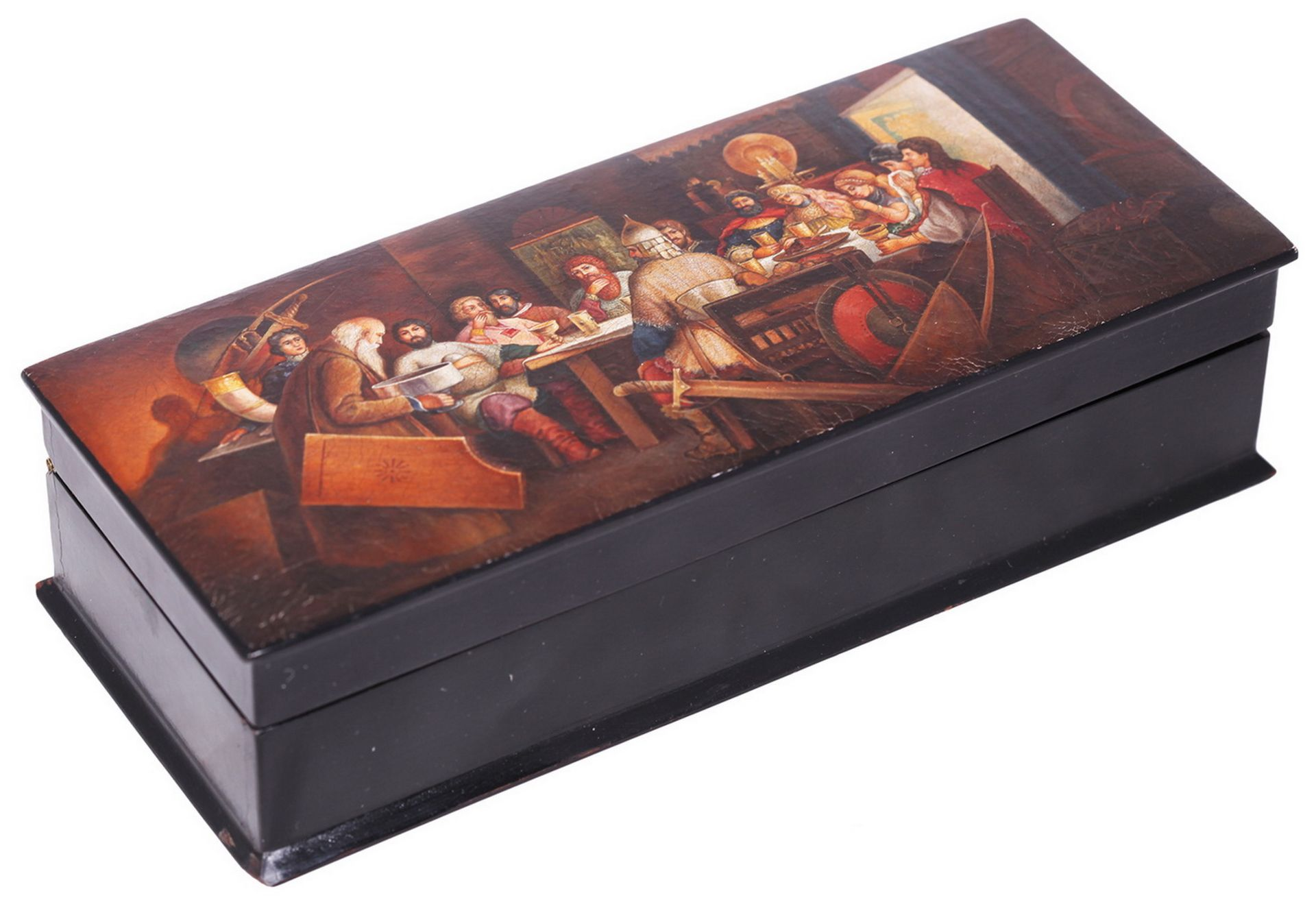 Russian papier mache lacquered box painted with a boyar's feast. - Lukutin manufactory, 19th - Bild 2 aus 5