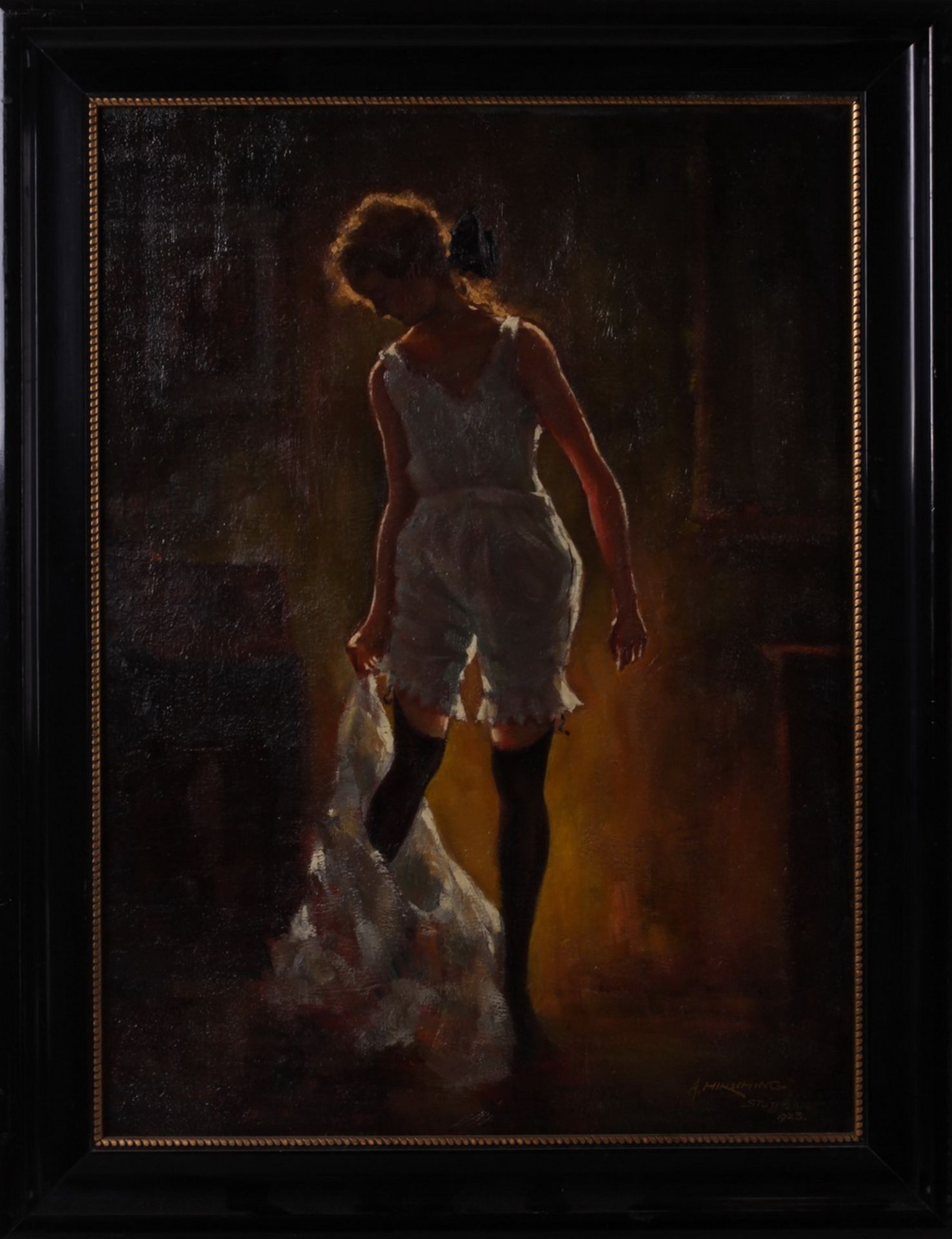 Hirshing, August. Undressing woman.<br>Signed and framed.  1923. Oil on cardboard. 58x42,5 cm. - Bild 2 aus 3