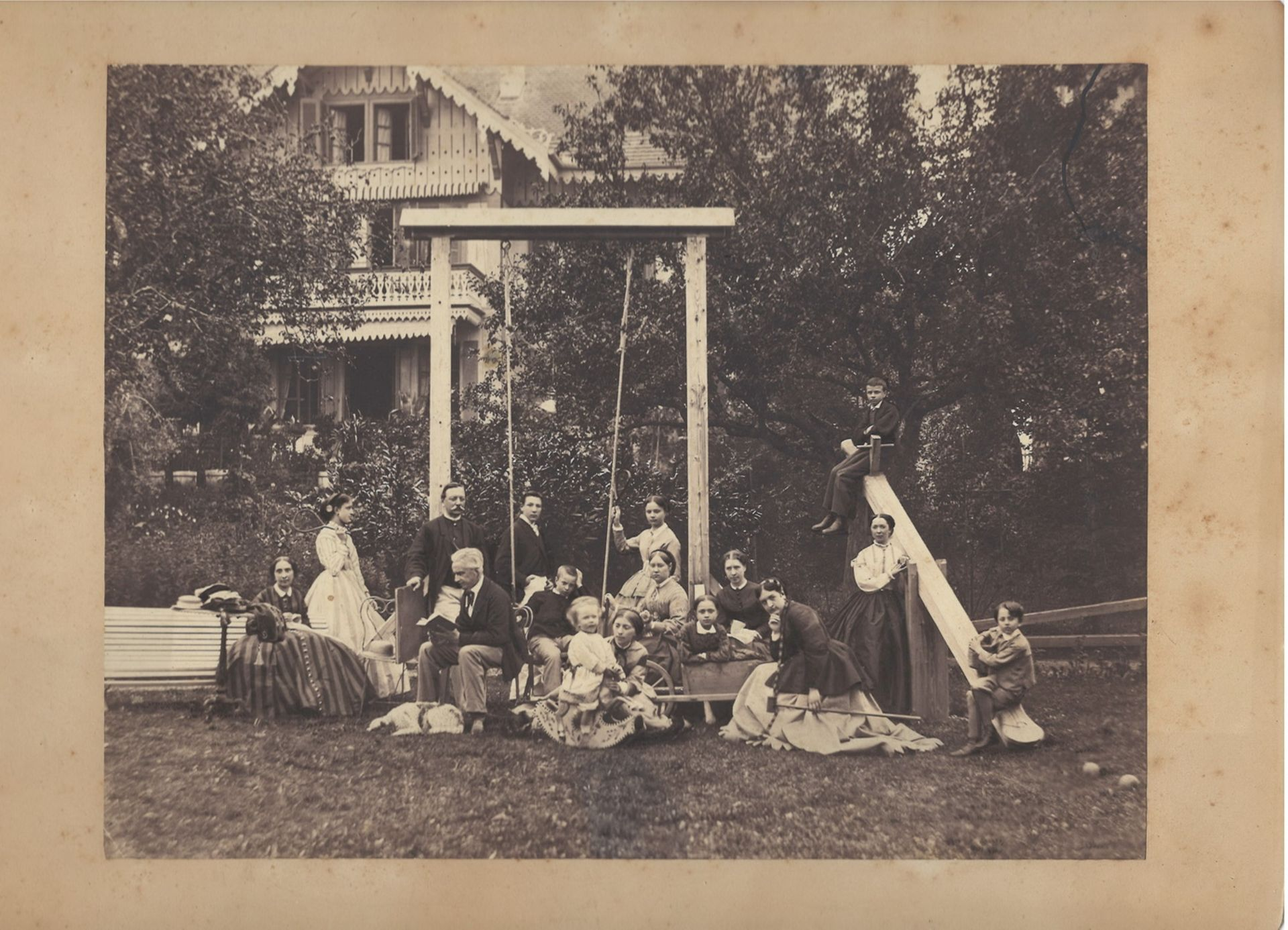 [Russian Empire]. 2 group family portraits. Photographs. Vintage prints. Late 19th century. 22x30 -