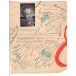 Sheet with congratulations and theatre actors autographs for actress A. Yablochkina. Late 1950s-