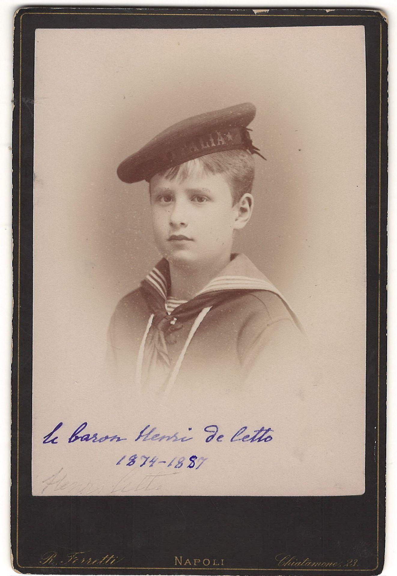 Ferretti, R. 2 cabinet portraits of prince Henry de Cetto. Photographs. Author's prints. [1885]. 16,