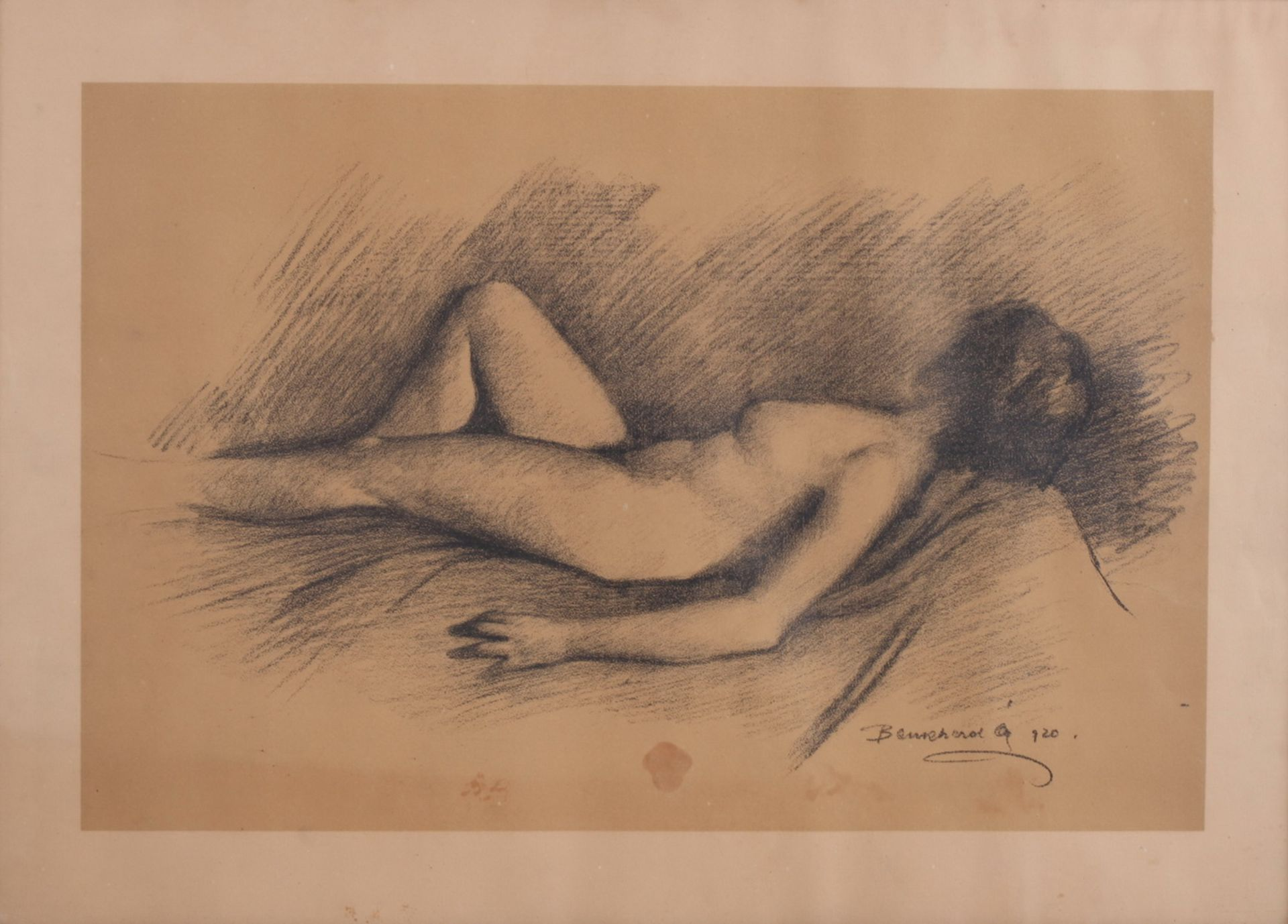 Unknown artist. Lying nude. <br>Signed and framed.1920. Paper, charcoal-pencil. 42,5x58,5 cm.