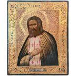 "Russian icon ""Saint Seraphim of Sarov"". - Russia, 19th century; 27x22 cm.<br>Tempera on wood, levkas"