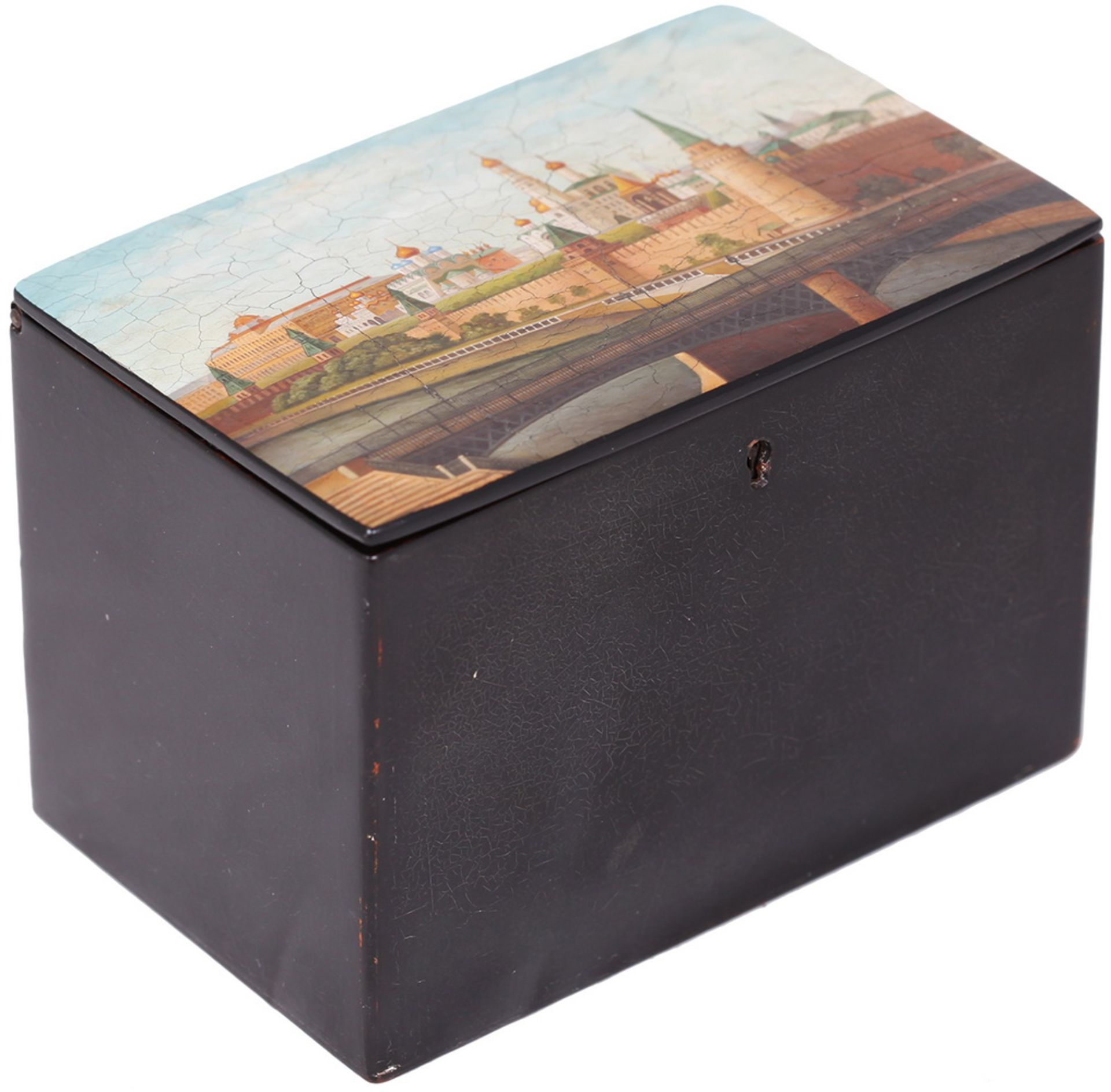 Russian papier mache lacquered box with a view of the Moscow Kremlin. - Vishnyakov, 19th century; 11