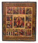 """Russian icon """"Resurrection of Christ"""" and liturgical feast (12 parts). - 19th century.<br>Tempera on"""