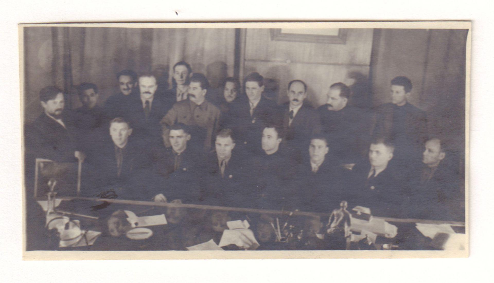 "[STALIN. Soviet]. Photograph ""J. Stalin, V. Molotov, K. Voroshilov, A. Mikoyan and other among deleg"
