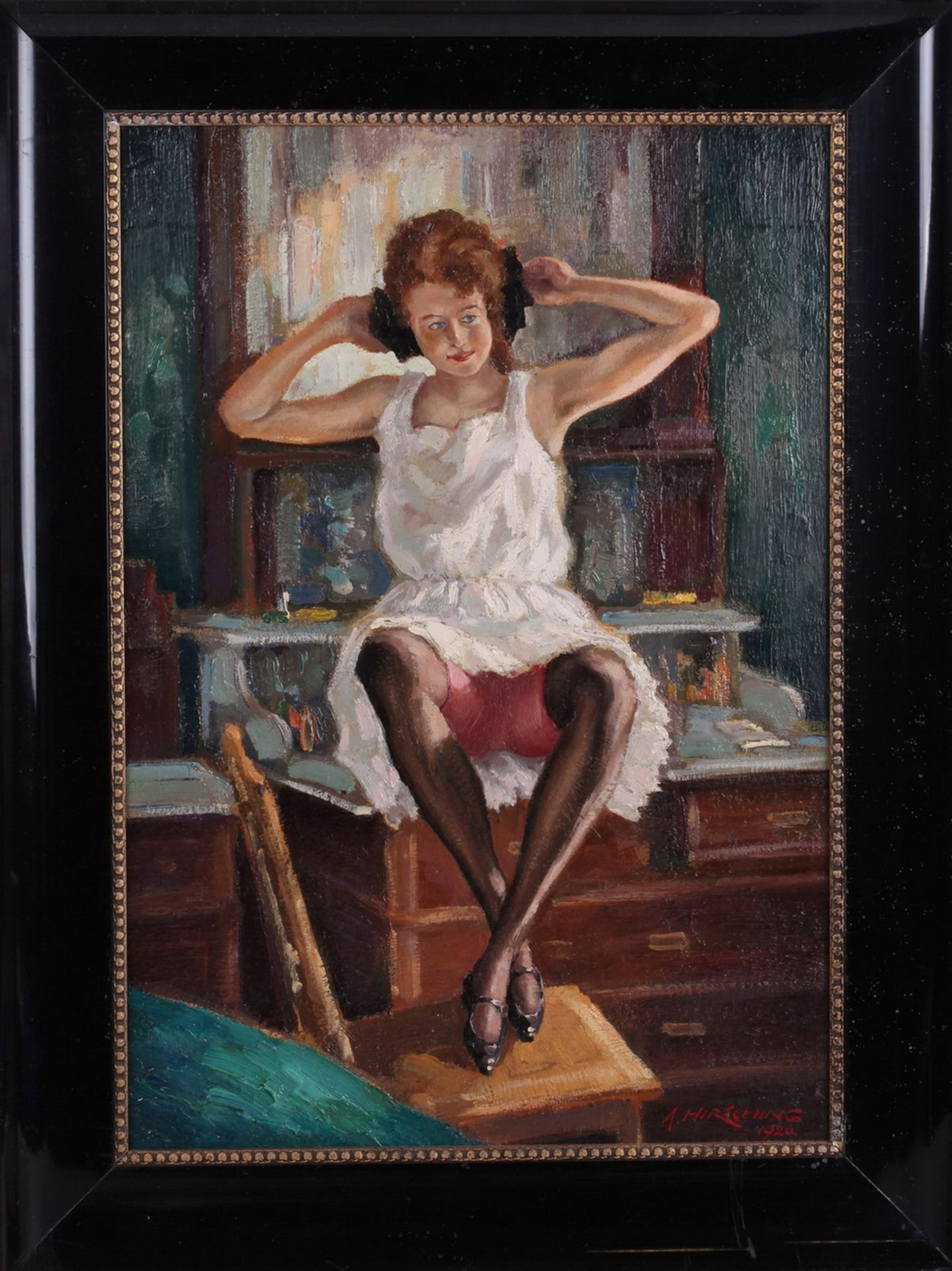 Hirshing, August. Undressing woman in front of the mirror. <br>Signed and framed. 1926. Oil on wood. - Bild 3 aus 4