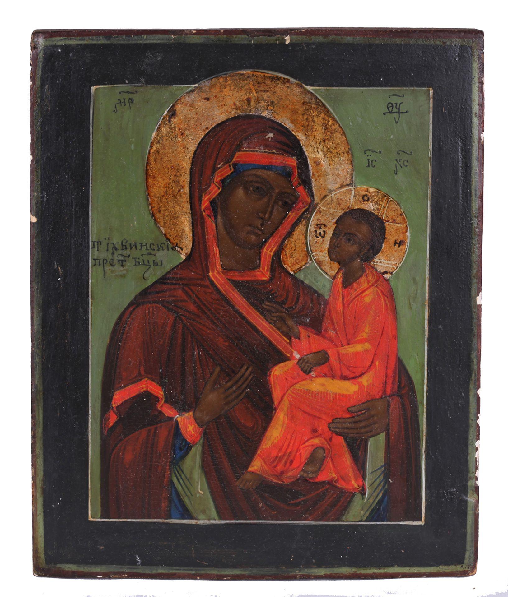 "Russian icon ""Mother of God Tihvinskaya"". Russia, 19 century. Wood, tempera, levkas. 22,2x18,2 cm."