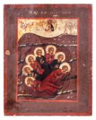 """Russian icon """"The seven sleepers of Ephesos"""". - 19th. century. - 18x14,5 cm.<br>Tempera on wood, lev"""