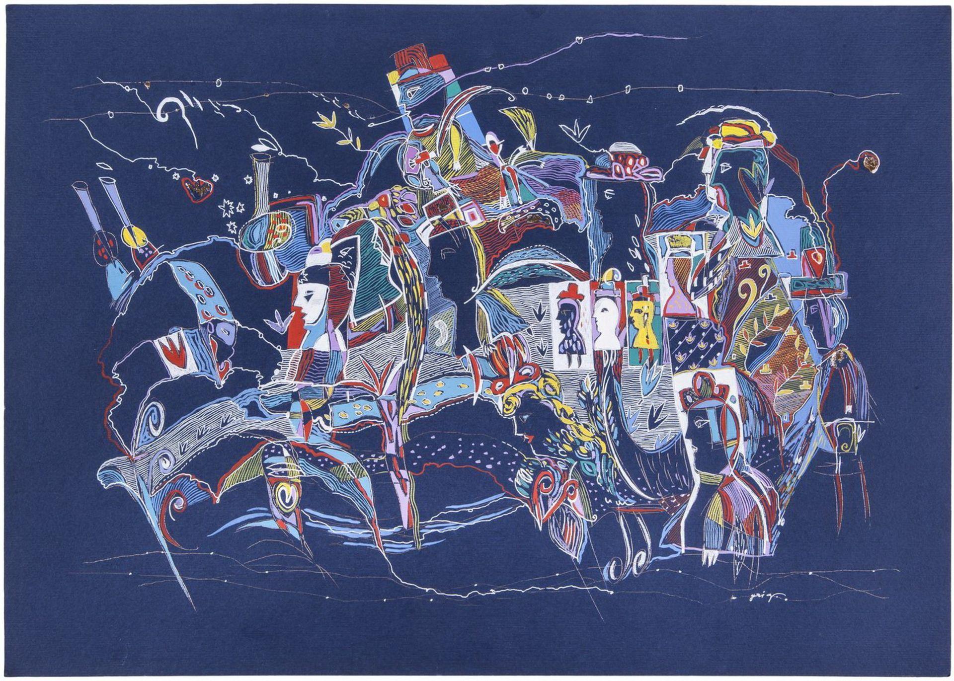 """Grieg, V. Artwork #1 from """"R"""". 2005. Paper, gouache, watercolor, gel pen. 36x50 cm.<br>Signed. Sales - Bild 2 aus 2"""