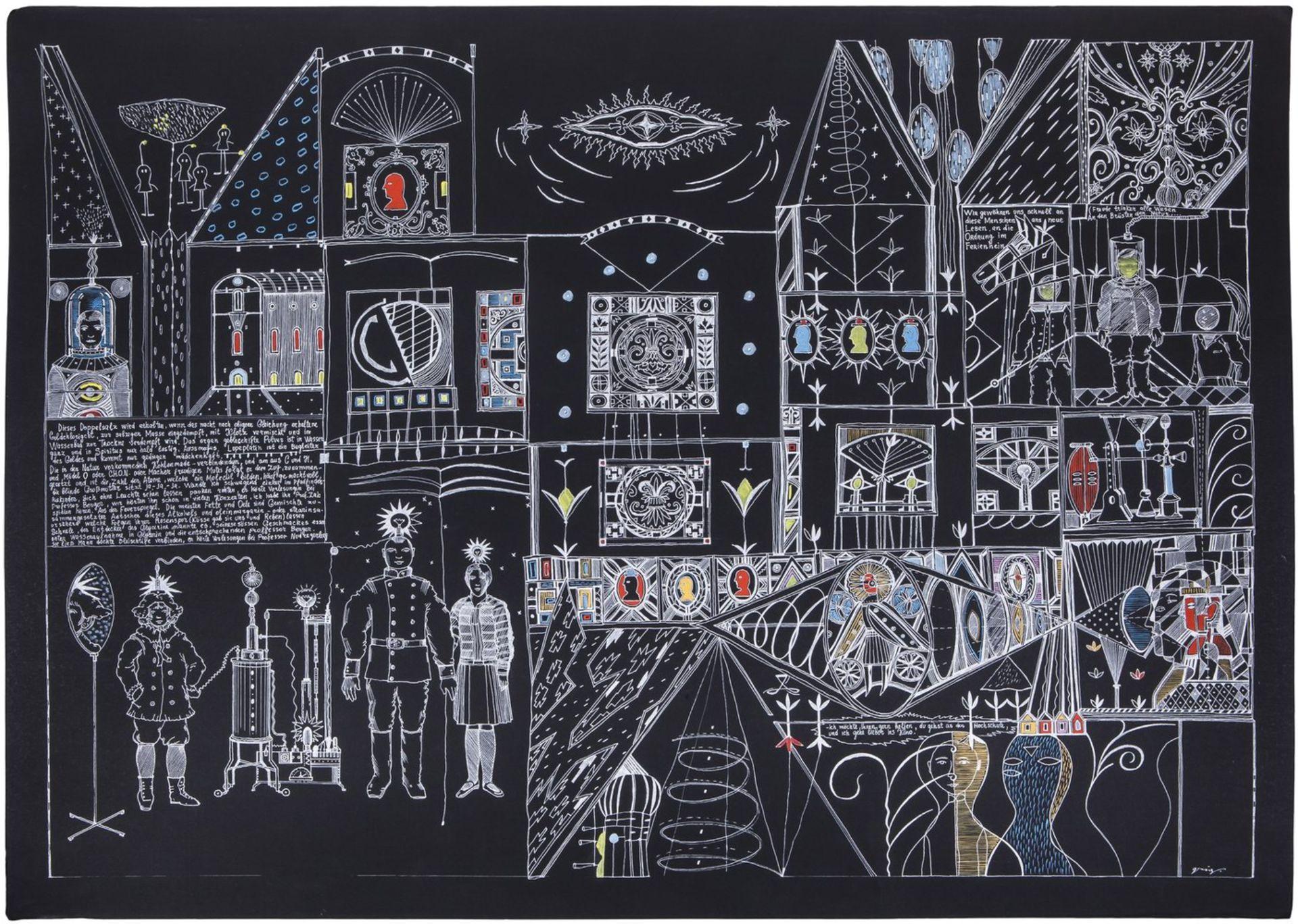 "Grieg, V. ""HochschuleKino"". 2006. Paper, gel, gel pen, gouache. 70x100 cm.<br>Signed. Phillips (Dece"