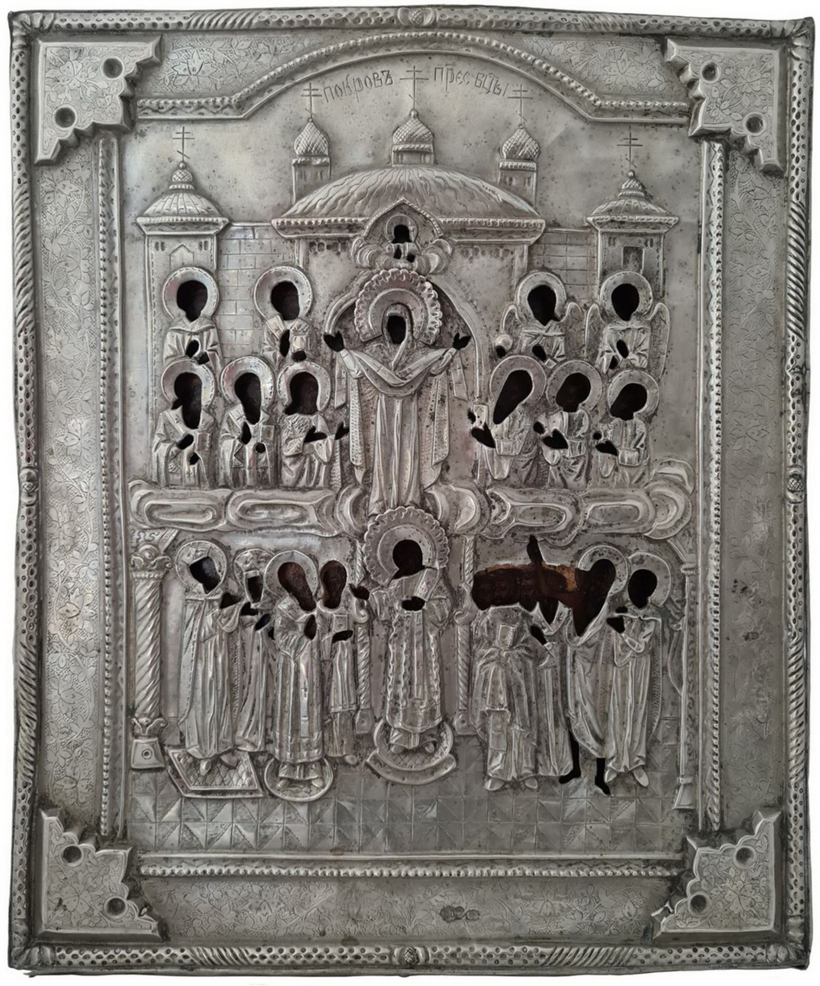 """Russian icon """"The Protecting Veil of the Mother of God"""" with silver oklad. - 19th century; 36x30 cm."""