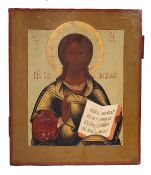 """Russian icon """"Christ Pantocrator"""". - 19th century. - 31x27 cm.<br>Tempera on wood, with gilding, lev"""