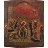 """Russian icon """"The fiery ascent of Elijah the Prophet"""". - 19th century. - 36x30 cm. <br>Tempera on wo"""