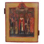 "Russian icon ""Saint Nicholas Wonderworker"" and selected saints. - 19th century; 27x22 cm.<br>Tempera"