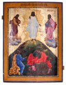 """Russian icon """"The transfiguration of Christ"""". - 18th century. - 89x67 cm.<br>Tempera on wood with gi"""