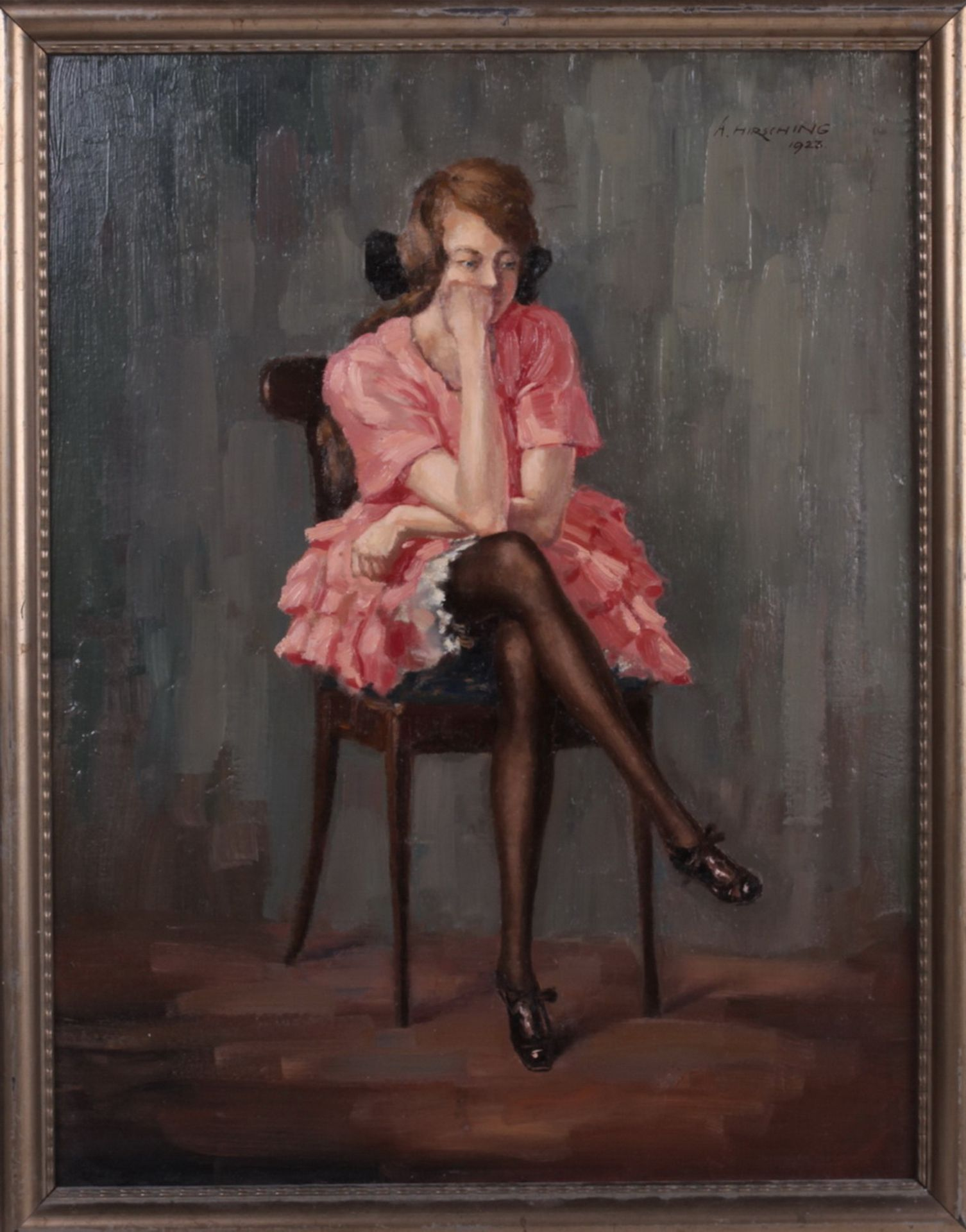 Hirshing, August. Sitting woman. <br>Signed and framed. 1923. Oil on cardboard. 49x38 cm. - Bild 3 aus 4