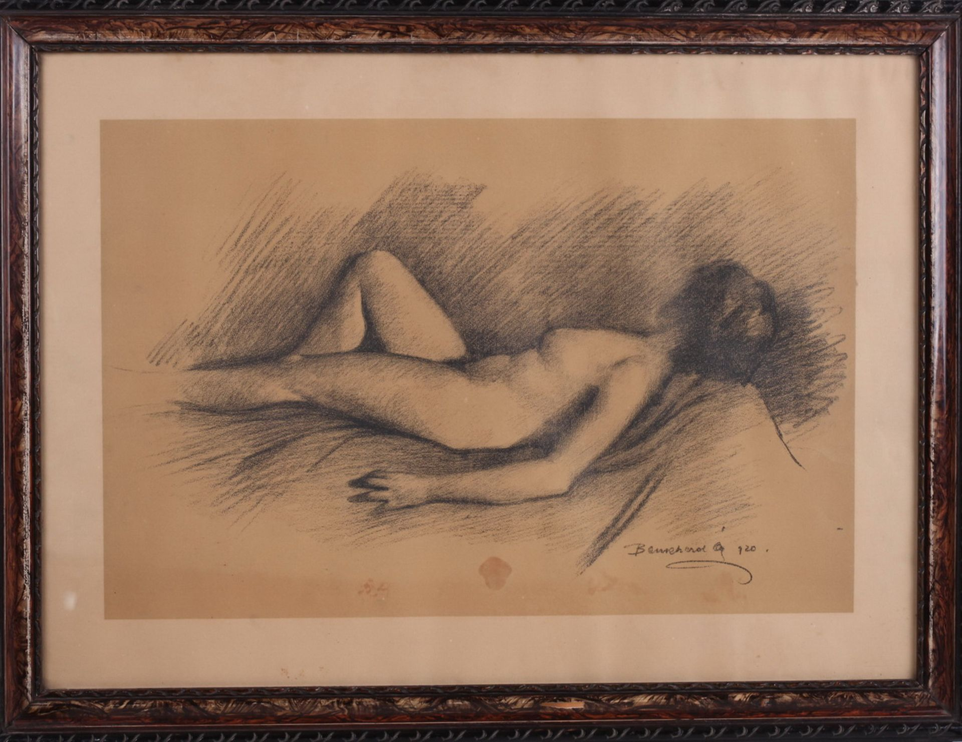 Unknown artist. Lying nude. <br>Signed and framed.1920. Paper, charcoal-pencil. 42,5x58,5 cm. - Bild 3 aus 4