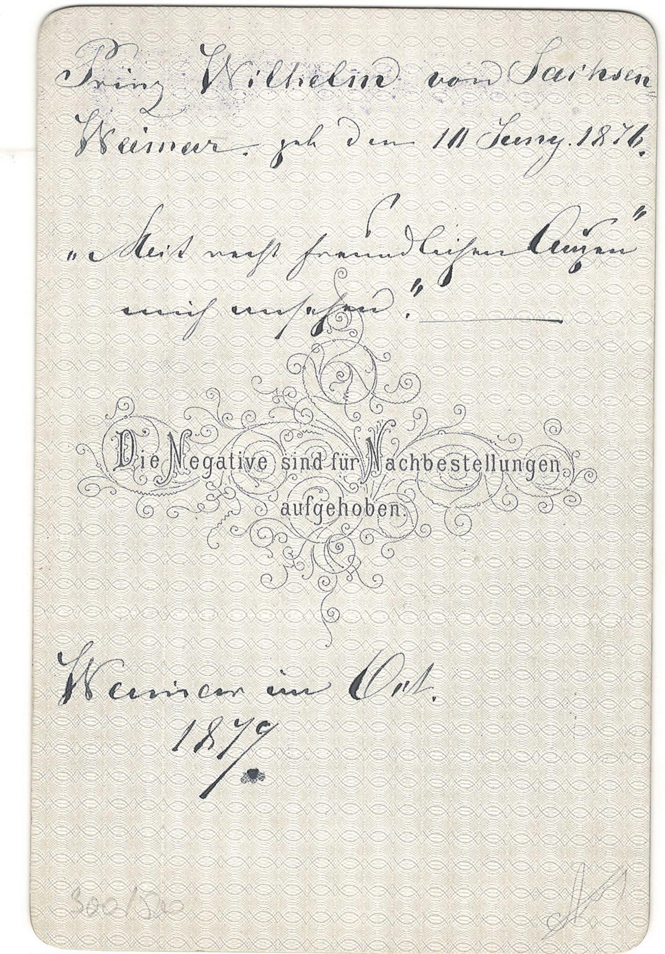 Hartzel, F. Cabinet portrait of Wilhelm von Sachsen-Weimar. Photograph. Author's print. [1879]. 16,5 - Bild 2 aus 2