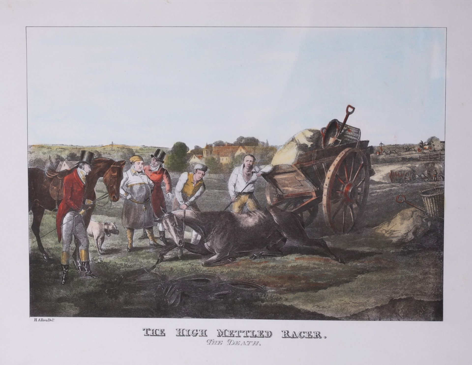 """Alken, Henry. Lithograph """"The High Mettled Racer. The death"""".<br>Framed. Middle of the XIX century.  - Bild 2 aus 4"""