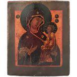 "Russian icon ""Mother of God Tihvinskaya"". - 19th century; 31x26 cm.<br>Tempera on wood, levkas."