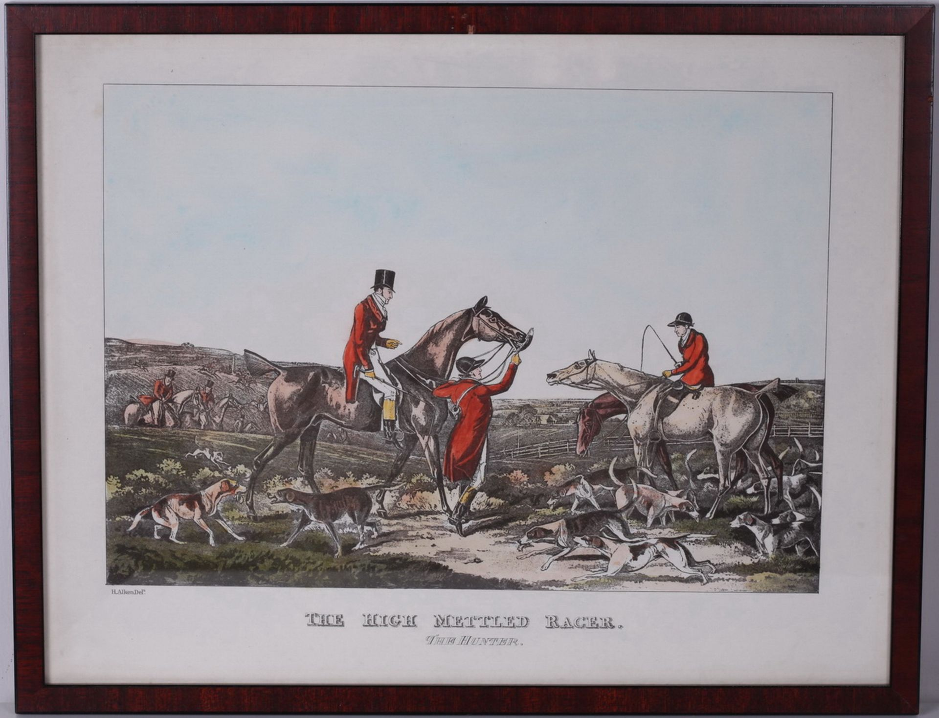 """Alken, Henry. Lithograph """"The High Mettled Racer. The hunter"""". <br>Framed. Middle of the XIX century"""