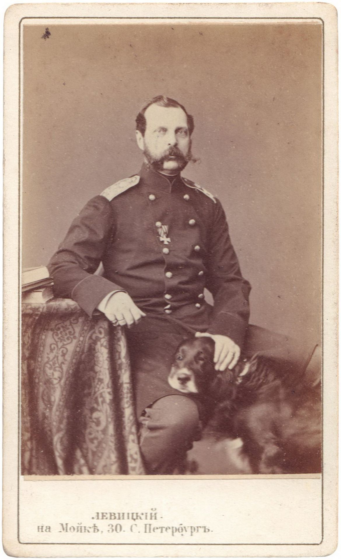 [Russian Empire. Romanov]. Levitsky, S. Portrait of Nicholas II of Russia. Author's print. 1860s. 10