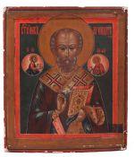 "Russian icon '"" Saint Nicholas Wonderworker"". - 19th century.; 31x26 cm.<br>Tempera on wood, levkas,"