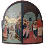 """Russian two-partite icon """"The baptism of the Jesus and Presentation Of Christ in the Temple"""". - 19th"""