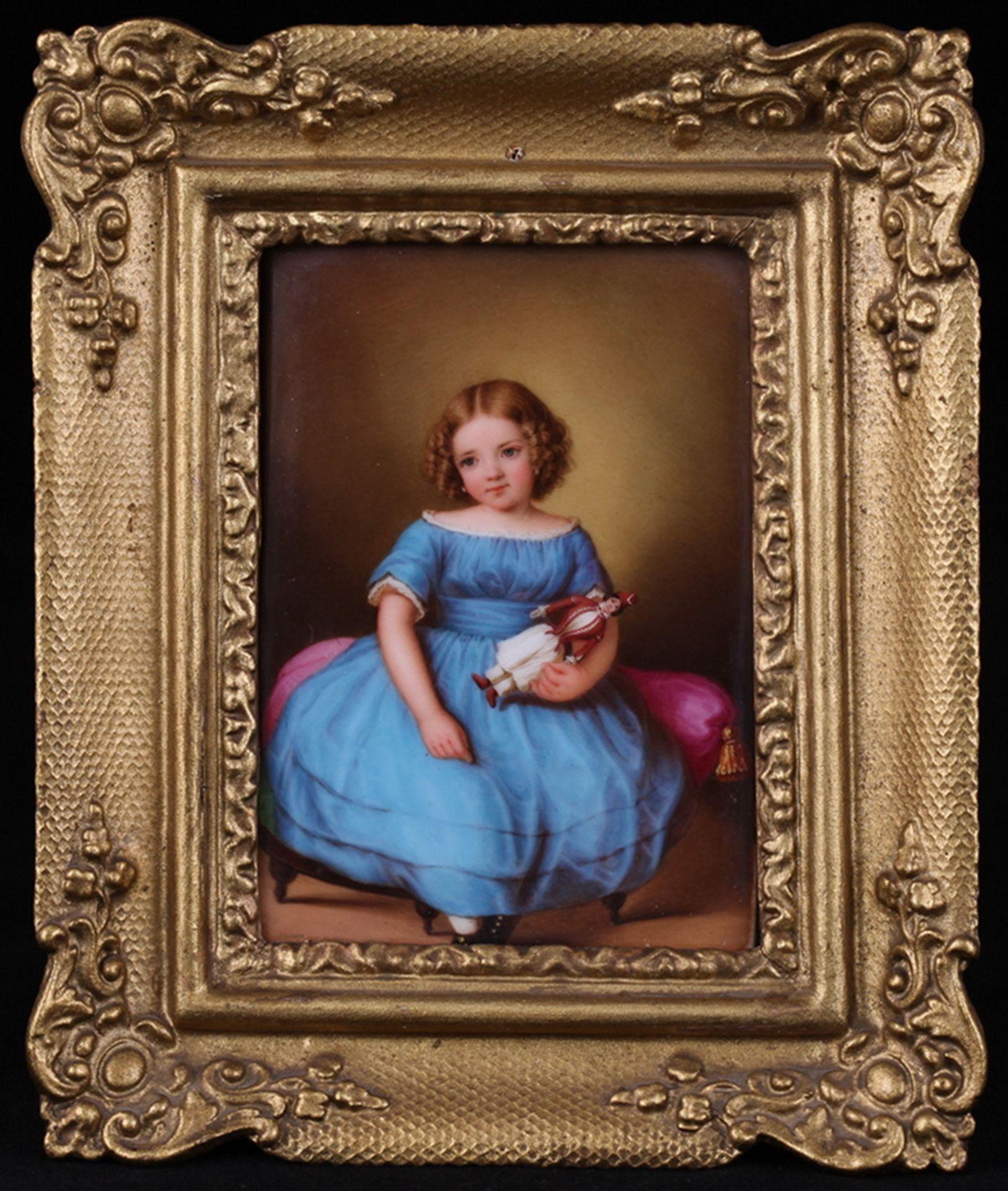 Hoffmann, E. Girl with a doll. Porcelain painting. 1853. 10,7x7,5 cm.<br>Framed. Artist's sign and d - Bild 3 aus 4