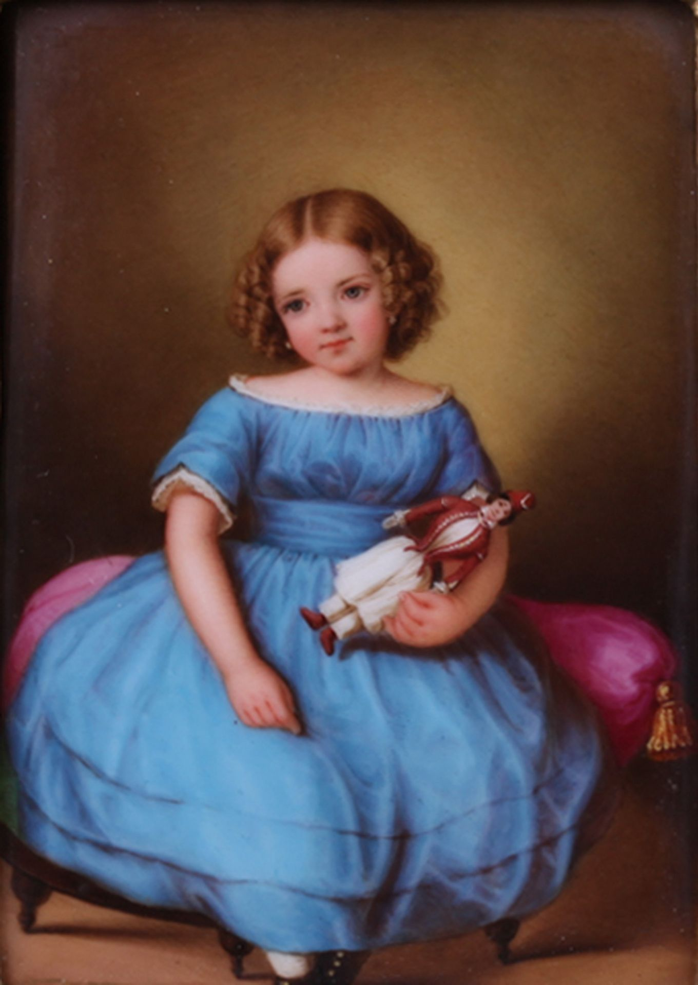 Hoffmann, E. Girl with a doll. Porcelain painting. 1853. 10,7x7,5 cm.<br>Framed. Artist's sign and d