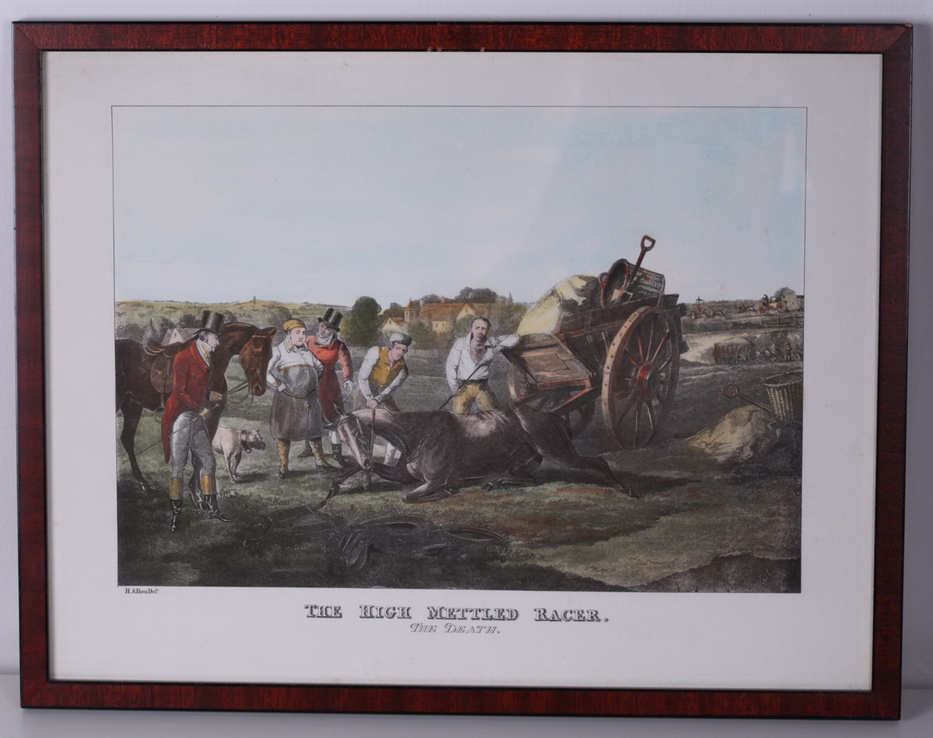 """Alken, Henry. Lithograph """"The High Mettled Racer. The death"""".<br>Framed. Middle of the XIX century.  - Bild 3 aus 4"""
