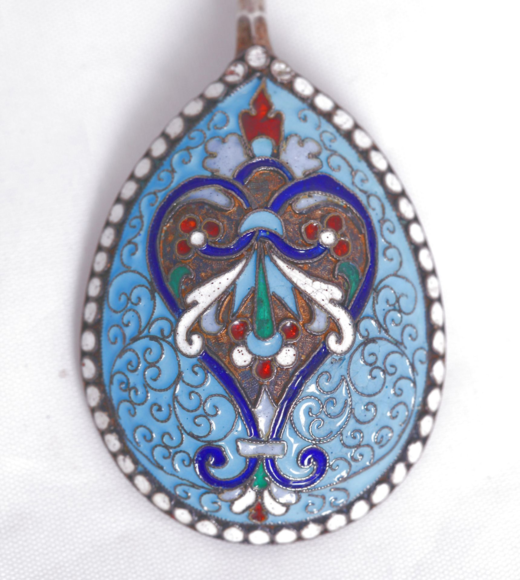 Russian enamel tea spoon. Late 19th- early 20th century. <br>16,5x3,8 cm.  - Bild 4 aus 4