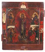 """Russian icon """"The mother of God joy to all who grieve"""". - 19th century. - 36x31 cm.<br>Tempera on wo"""