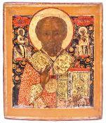 "Russian icon ""St. Nicholas Wonderworker"". - 18th century. - 32x27 cm.<br>Tempera on wood (kovcheg) w"