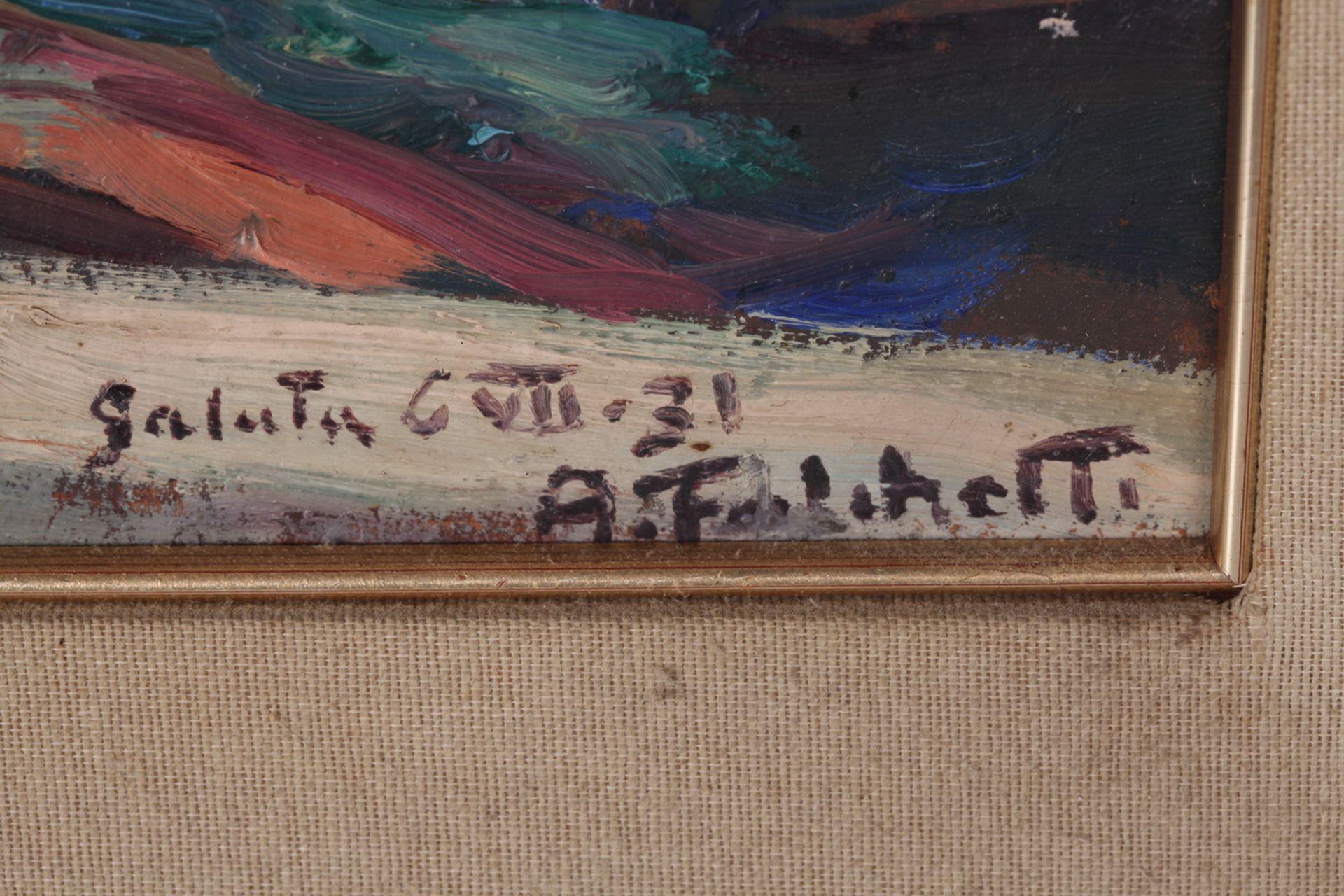Falchetti, Alberto. Galuta. 1931. Oil on canvas. 36x45 cm.<br>Signed and framed. - Bild 4 aus 4