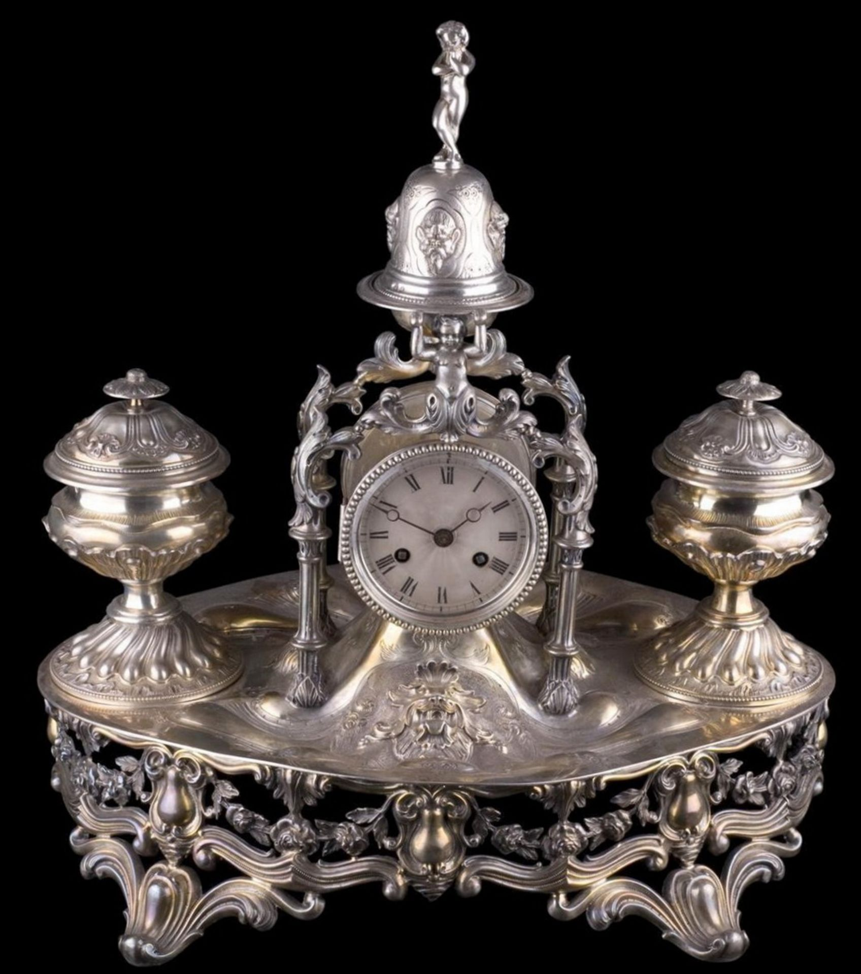 Fine quality silver inkstand with the table clock and the bell. Emile Hugo workshop. France, Paris.