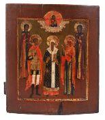"Russian icon ""St. Alexius metropolitan of Kiev with selected saints"". - 19th century. - 35x30,5 cm.<"